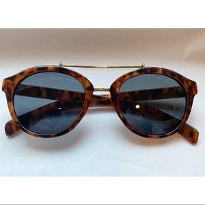 LOFT Gold Metal Bridge Tortoise Round Sunglasses